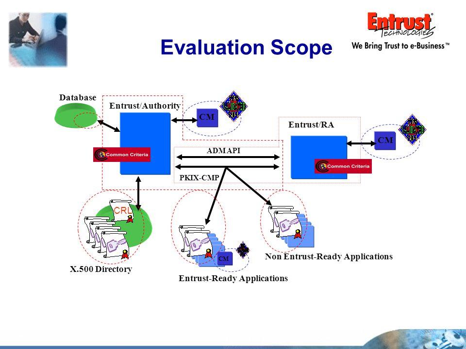 Evaluation Scope X.500 Directory Entrust/Authority Entrust/RA Non Entrust-Ready Applications CM CRL Entrust-Ready Applications CM Database PKIX-CMP AD