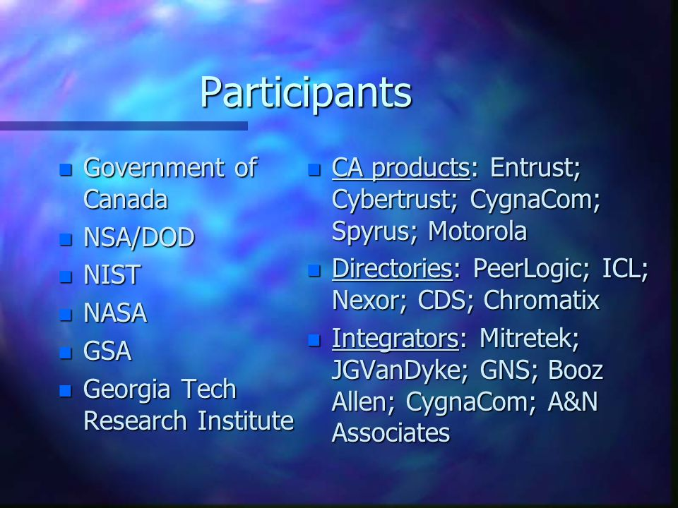 Participants n Government of Canada n NSA/DOD n NIST n NASA n GSA n Georgia Tech Research Institute n CA products: Entrust; Cybertrust; CygnaCom; Spyr