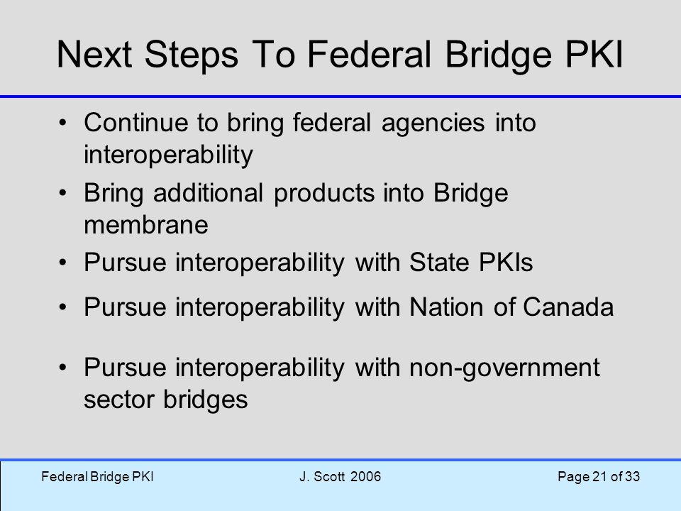 Federal Bridge PKIJ. Scott 2006 Page 21 of 33 Next Steps To Federal Bridge PKI Continue to bring federal agencies into interoperability Bring addition