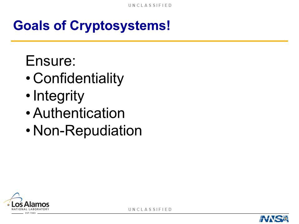U N C L A S S I F I E D Goals of Cryptosystems.