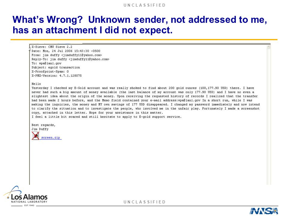 U N C L A S S I F I E D What's Wrong? Unknown sender, not addressed to me, has an attachment I did not expect.