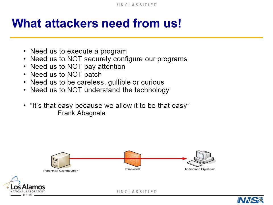 U N C L A S S I F I E D What attackers need from us.