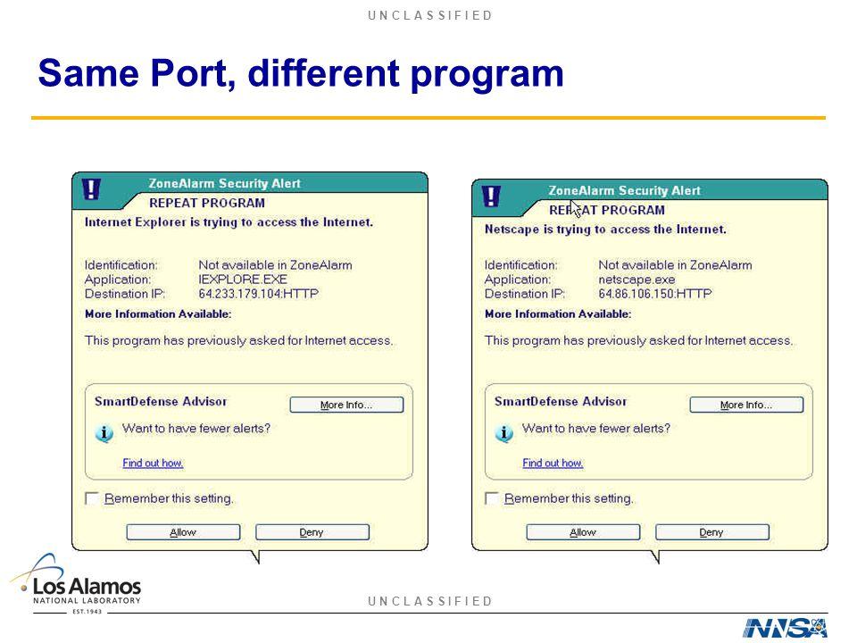 U N C L A S S I F I E D Same Port, different program