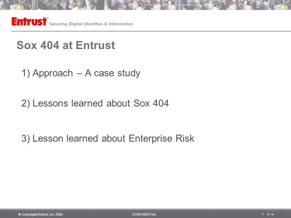 © Copyright Entrust, Inc.2005CONFIDENTIAL28 Why Enterprise Risk Management.