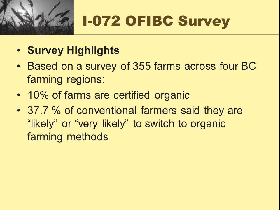 I-072 OFIBC Survey Survey Highlights Based on a survey of 355 farms across four BC farming regions: 10% of farms are certified organic 37.7 % of conventional farmers said they are likely or very likely to switch to organic farming methods