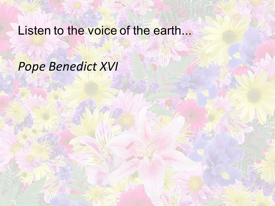 Listen to the voice of the earth... Pope Benedict XVI