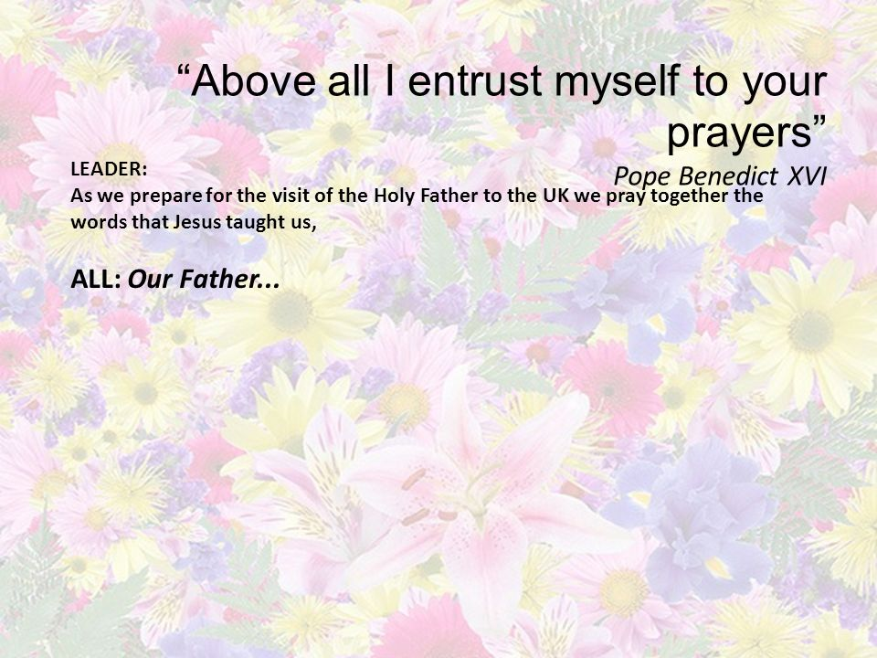 Above all I entrust myself to your prayers Pope Benedict XVI LEADER: Each day we will be united in prayers of preparation with schools, parishes and families across the UK.