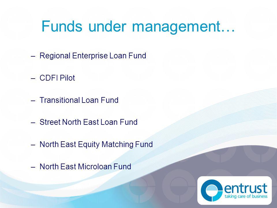 –Regional Enterprise Loan Fund –CDFI Pilot –Transitional Loan Fund –Street North East Loan Fund –North East Equity Matching Fund –North East Microloan Fund Funds under management…