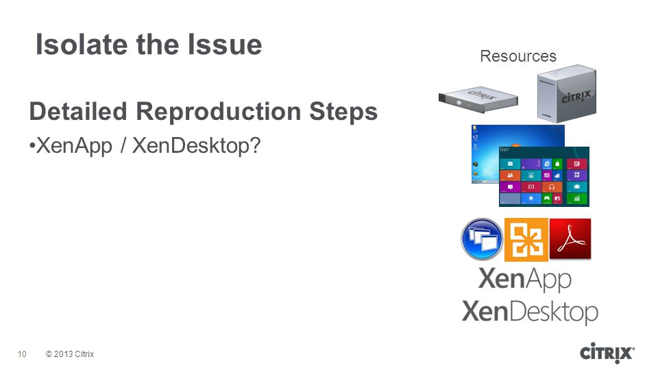 © 2013 Citrix Isolate the Issue 10 Detailed Reproduction Steps XenApp / XenDesktop? Resources