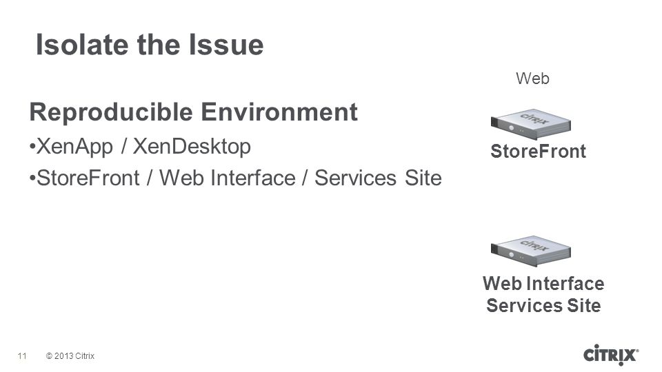 © 2013 Citrix Isolate the Issue 11 Reproducible Environment XenApp / XenDesktop StoreFront / Web Interface / Services Site Web StoreFront Web Interfac