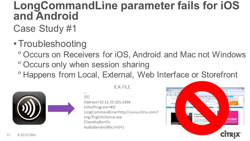 © 2013 Citrix LongCommandLine parameter fails for iOS and Android Case Study #1 33 Troubleshooting  Occurs on Receivers for iOS, Android and Mac not