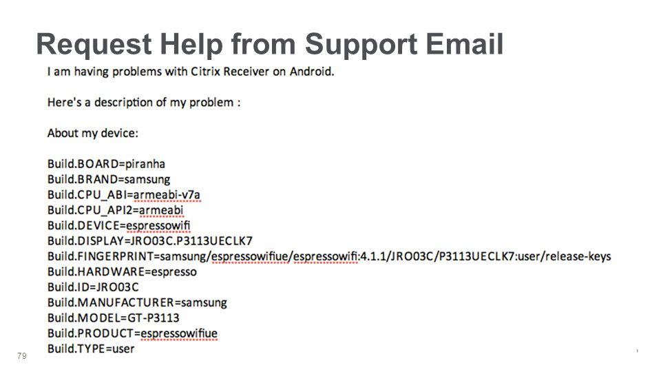 © 2013 Citrix Request Help from Support Email 79 Send Feedback Email