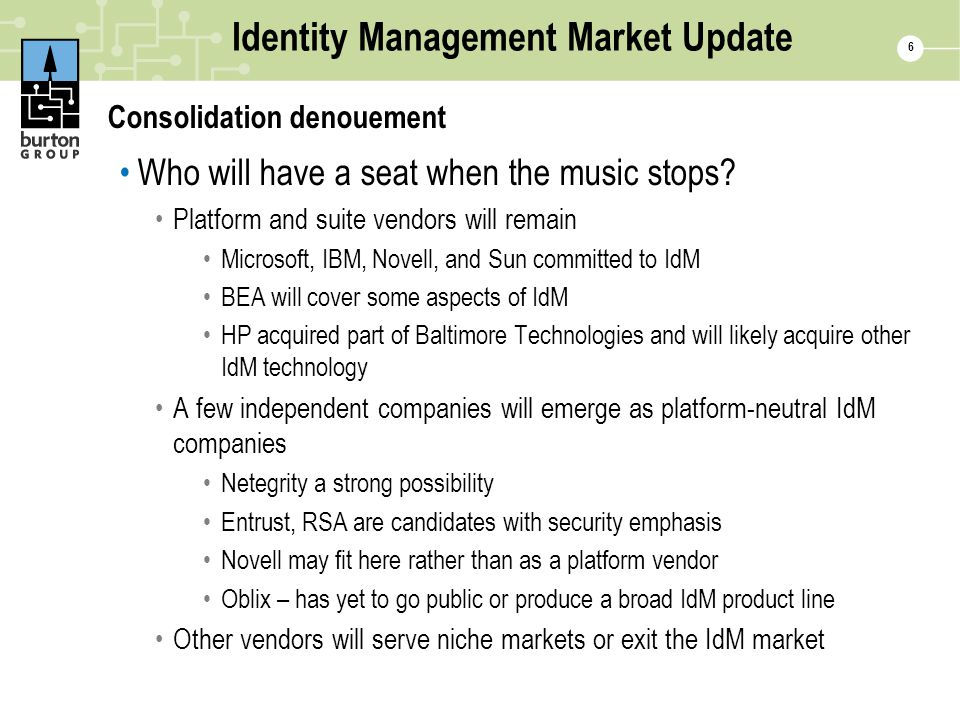 6 Identity Management Market Update Consolidation denouement Who will have a seat when the music stops.