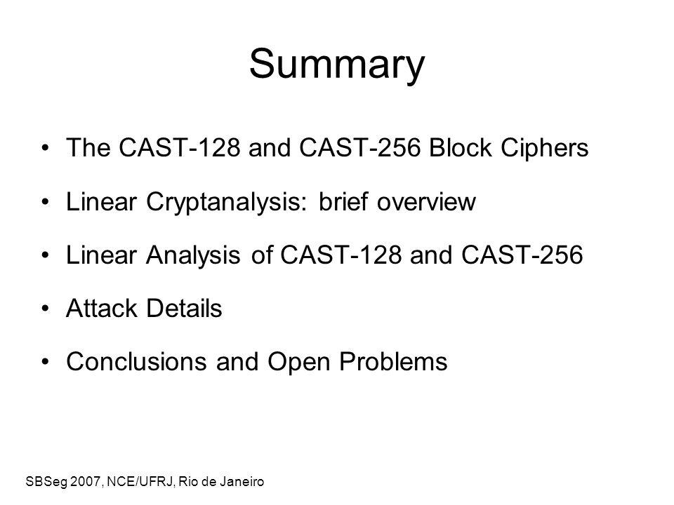 SBSeg 2007, NCE/UFRJ, Rio de Janeiro Linear Analysis of CAST-128 f1f1