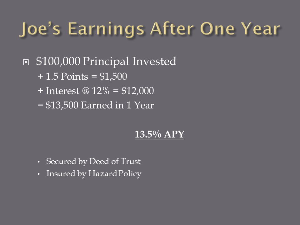  $100,000 Principal Invested + 1.5 Points = $1,500 + Interest @ 12% = $12,000 = $13,500 Earned in 1 Year 13.5% APY Secured by Deed of Trust Insured by Hazard Policy