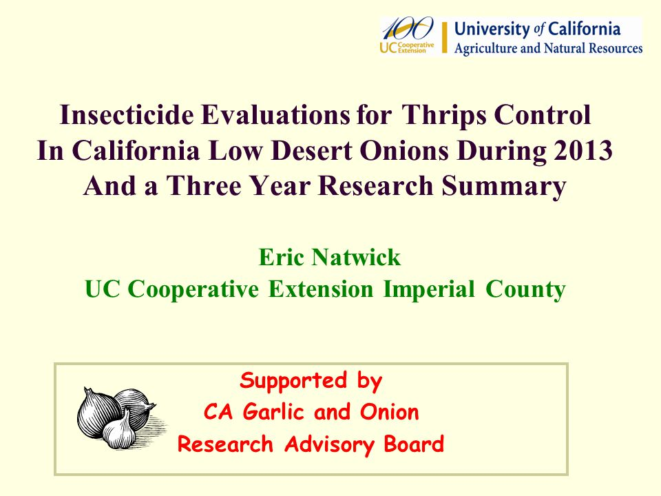 Insecticide Evaluations for Thrips Control In California Low Desert Onions During 2013 And a Three Year Research Summary Eric Natwick UC Cooperative E