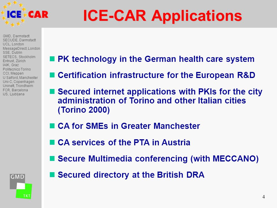 GMD, Darmstadt SECUDE, Darmstadt UCL, London MessageDirect, London SSE, Dublin SETECS, Stockholm Entrust, Zürich IAIK, Graz Politecnico Torino CCI, Meppen U Salford, Manchester Uni-C, Copenhagen Uninett, Trondheim FCR, Barcelona IJS, Ljubljana 4 ICE-CAR Applications ICE-CAR Applications nPK technology in the German health care system nCertification infrastructure for the European R&D nSecured internet applications with PKIs for the city administration of Torino and other Italian cities (Torino 2000) nCA for SMEs in Greater Manchester nCA services of the PTA in Austria nSecure Multimedia conferencing (with MECCANO) nSecured directory at the British DRA
