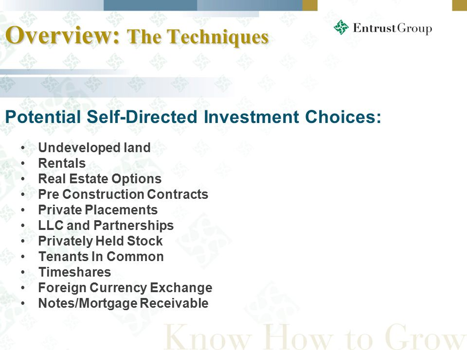 Undeveloped land Rentals Real Estate Options Pre Construction Contracts Private Placements LLC and Partnerships Privately Held Stock Tenants In Common Timeshares Foreign Currency Exchange Notes/Mortgage Receivable Overview: The Techniques Potential Self-Directed Investment Choices: