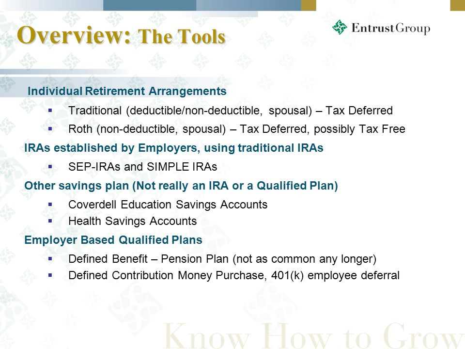Overview: The Tools Individual Retirement Arrangements  Traditional (deductible/non-deductible, spousal) – Tax Deferred  Roth (non-deductible, spousal) – Tax Deferred, possibly Tax Free IRAs established by Employers, using traditional IRAs  SEP-IRAs and SIMPLE IRAs Other savings plan (Not really an IRA or a Qualified Plan)  Coverdell Education Savings Accounts  Health Savings Accounts Employer Based Qualified Plans  Defined Benefit – Pension Plan (not as common any longer)  Defined Contribution Money Purchase, 401(k) employee deferral