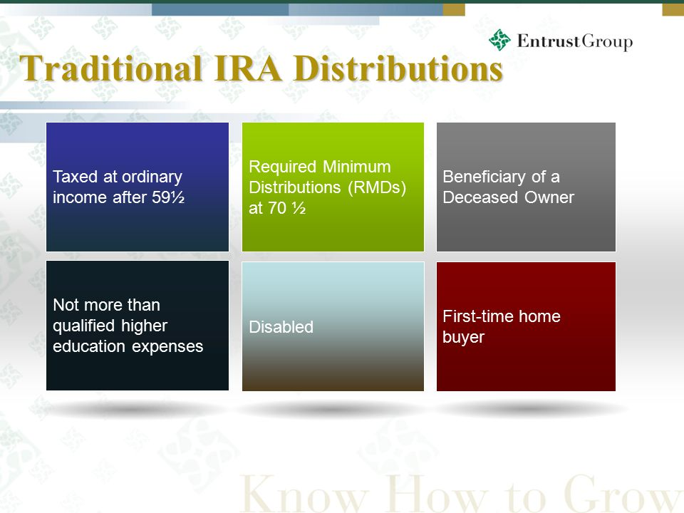16 Required Minimum Distributions (RMDs) at 70 ½ Taxed at ordinary income after 59½ Beneficiary of a Deceased Owner Traditional IRA Distributions Not more than qualified higher education expenses Disabled First-time home buyer