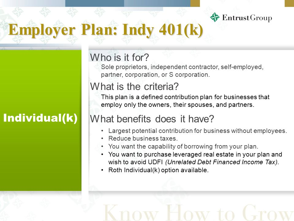 Employer Plan: Indy 401(k) 34 Individual(k) Largest potential contribution for business without employees.