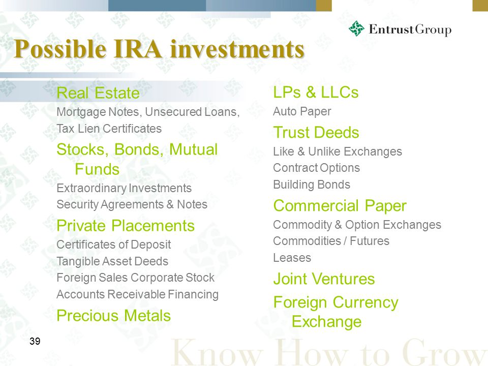 39 Possible IRA investments Real Estate Mortgage Notes, Unsecured Loans, Tax Lien Certificates Stocks, Bonds, Mutual Funds Extraordinary Investments Security Agreements & Notes Private Placements Certificates of Deposit Tangible Asset Deeds Foreign Sales Corporate Stock Accounts Receivable Financing Precious Metals LPs & LLCs Auto Paper Trust Deeds Like & Unlike Exchanges Contract Options Building Bonds Commercial Paper Commodity & Option Exchanges Commodities / Futures Leases Joint Ventures Foreign Currency Exchange