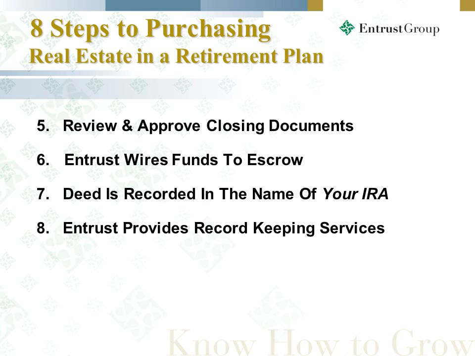5. Review & Approve Closing Documents 6.Entrust Wires Funds To Escrow 7.
