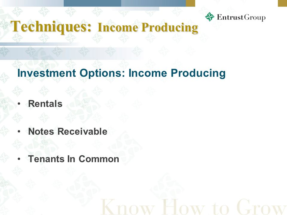 Investment Options: Income Producing Rentals Notes Receivable Tenants In Common Techniques: Income Producing