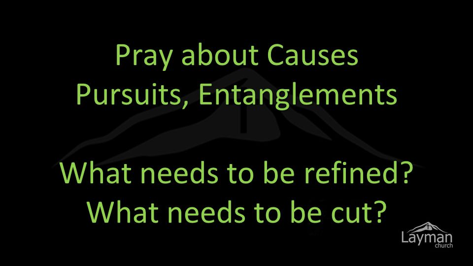 Pray about Causes Pursuits, Entanglements What needs to be refined What needs to be cut