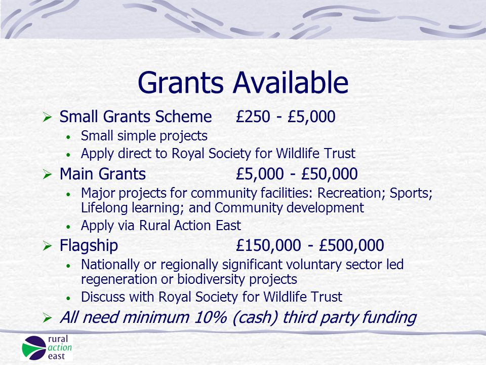 Grants Available  Small Grants Scheme£250 - £5,000 Small simple projects Apply direct to Royal Society for Wildlife Trust  Main Grants£5,000 - £50,000 Major projects for community facilities: Recreation; Sports; Lifelong learning; and Community development Apply via Rural Action East  Flagship£150,000 - £500,000 Nationally or regionally significant voluntary sector led regeneration or biodiversity projects Discuss with Royal Society for Wildlife Trust  All need minimum 10% (cash) third party funding