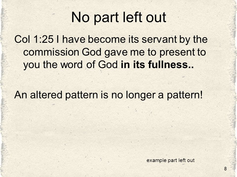 No part left out Col 1:25 I have become its servant by the commission God gave me to present to you the word of God in its fullness..