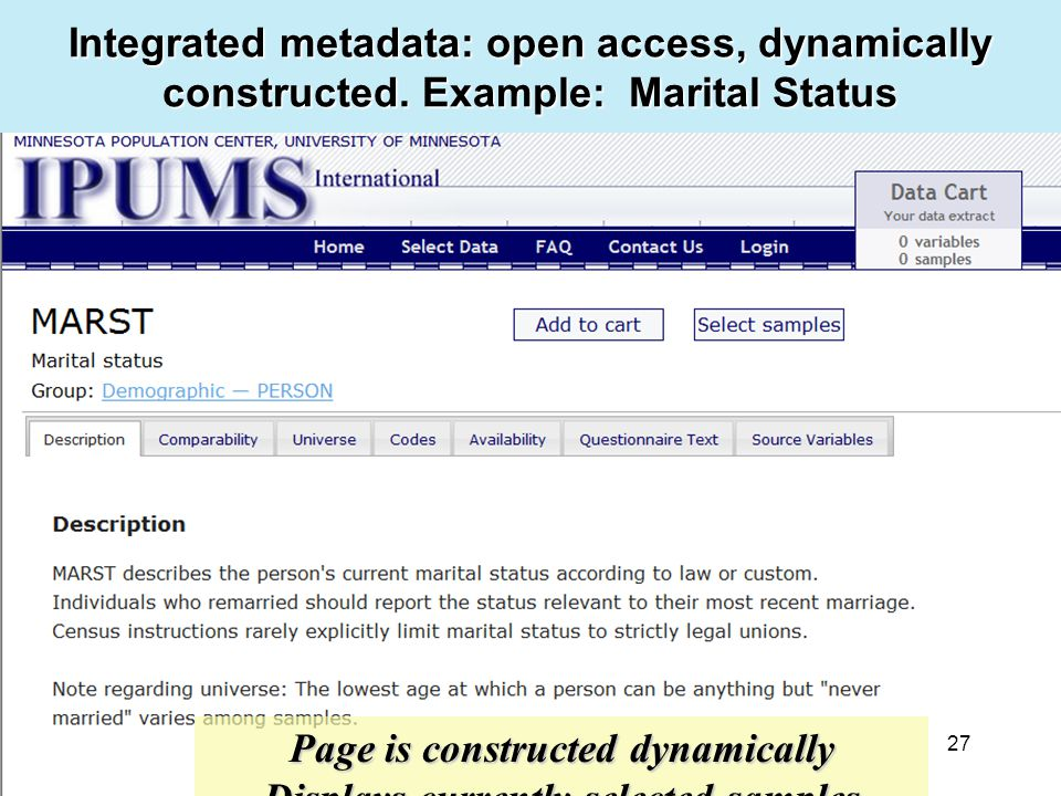 27 Integrated metadata: open access, dynamically constructed.