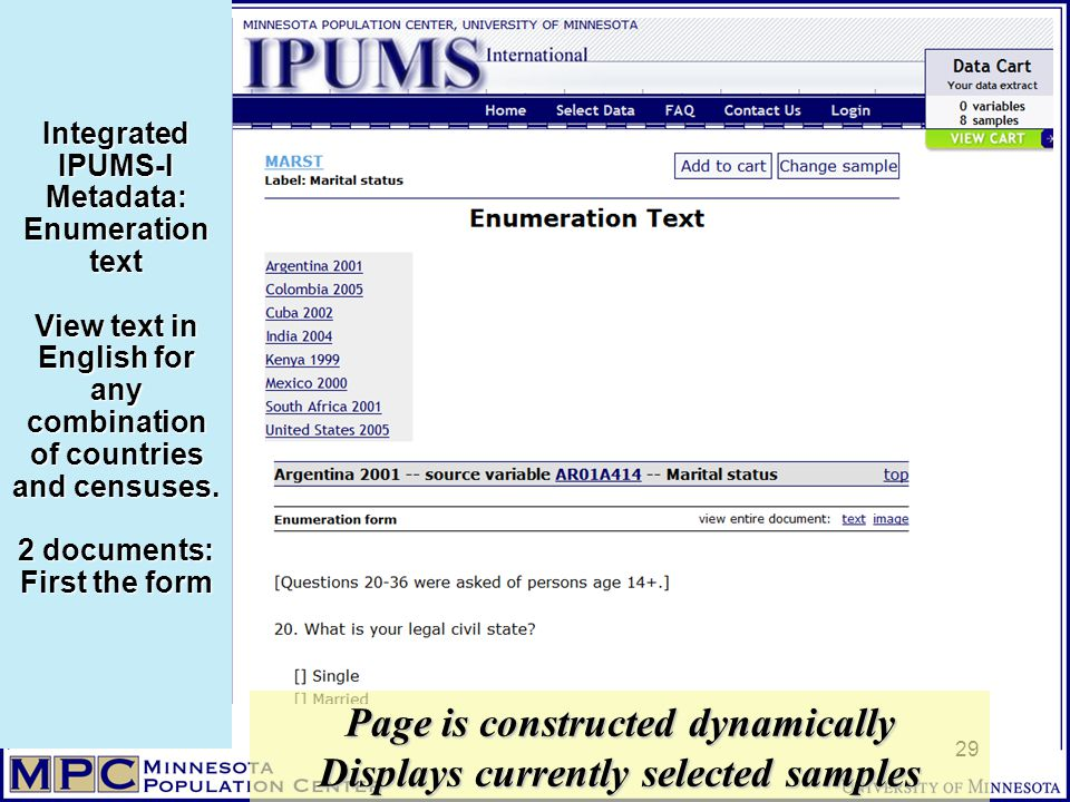 Integrated IPUMS-I Metadata: Enumeration text View text in English for any combination of countries and censuses.