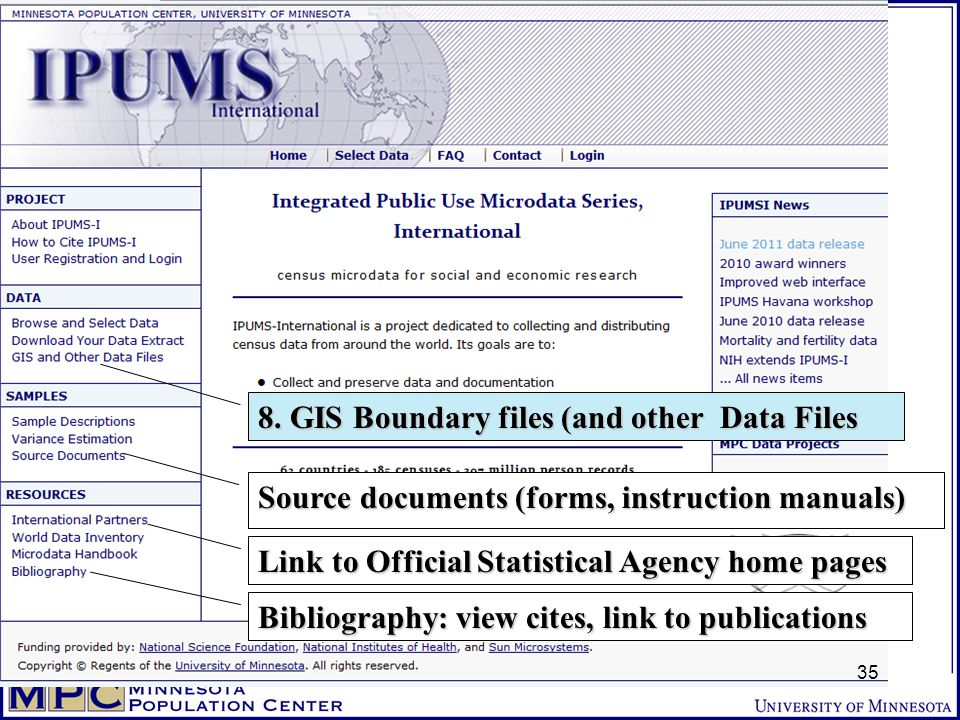 8. GIS Boundary files (and other Data Files Link to Official Statistical Agency home pages Source documents (forms, instruction manuals) Bibliography: