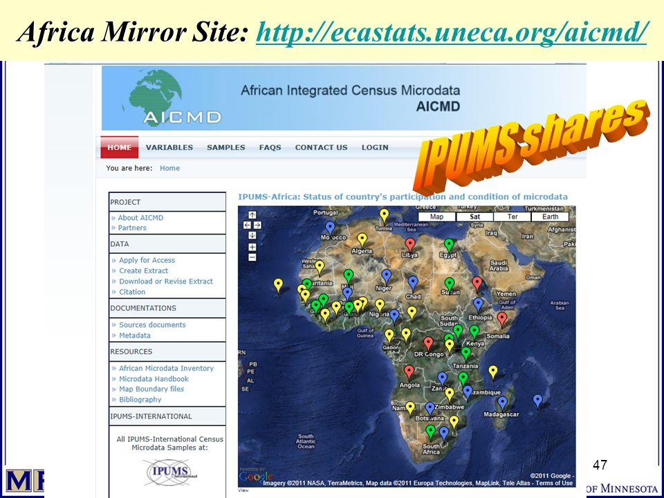 Africa Mirror Site: http://ecastats.uneca.org/aicmd/ http://ecastats.uneca.org/aicmd/ 47
