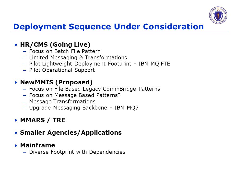Deployment Sequence Under Consideration HR/CMS (Going Live) – Focus on Batch File Pattern – Limited Messaging & Transformations – Pilot Lightweight De