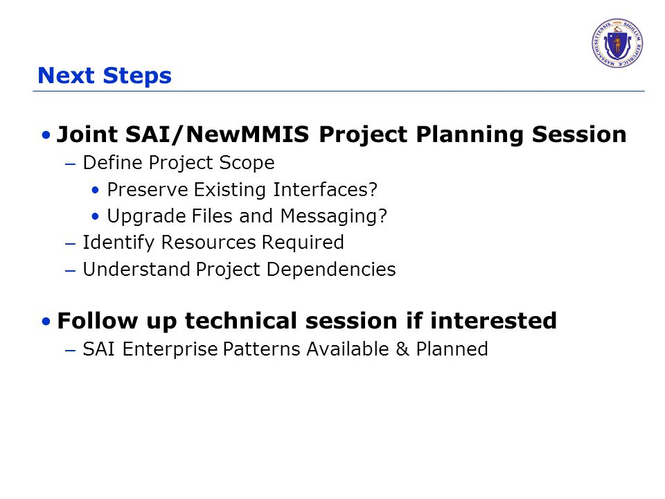 Next Steps Joint SAI/NewMMIS Project Planning Session – Define Project Scope Preserve Existing Interfaces? Upgrade Files and Messaging? – Identify Res