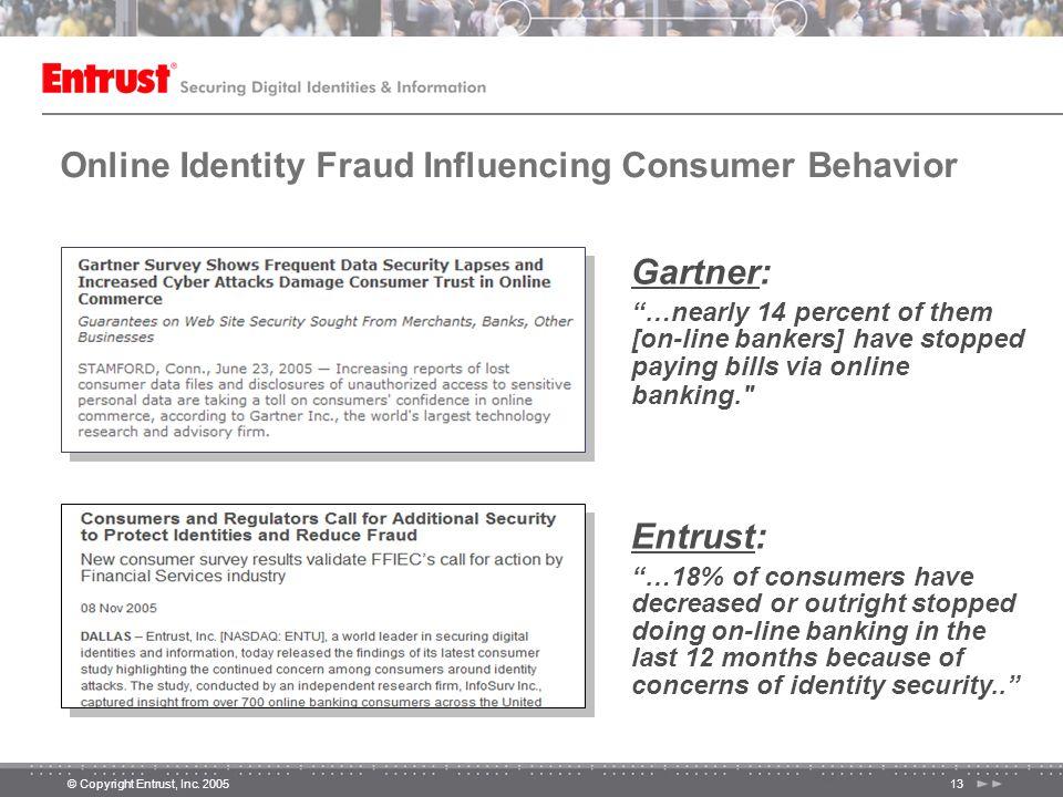 "© Copyright Entrust, Inc. 200513 Online Identity Fraud Influencing Consumer Behavior Gartner: ""…nearly 14 percent of them [on-line bankers] have stopp"