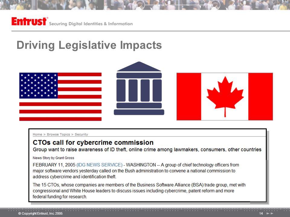 © Copyright Entrust, Inc. 200514 Driving Legislative Impacts