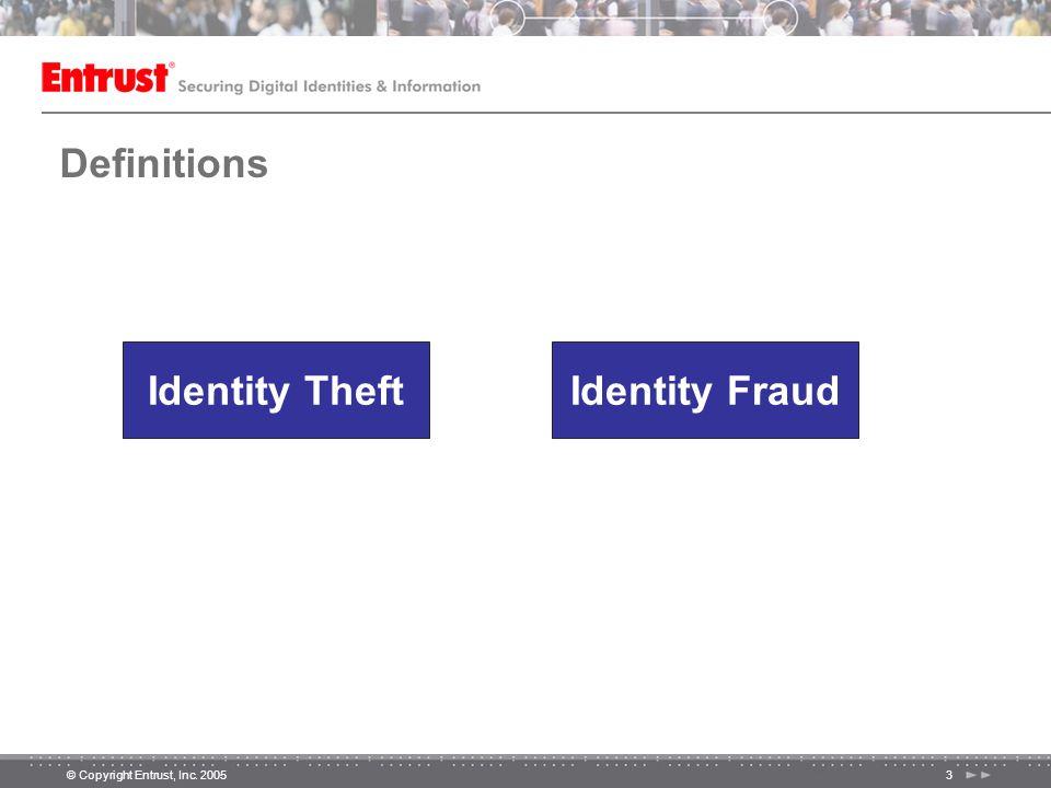 © Copyright Entrust, Inc. 20053 Definitions Identity TheftIdentity Fraud