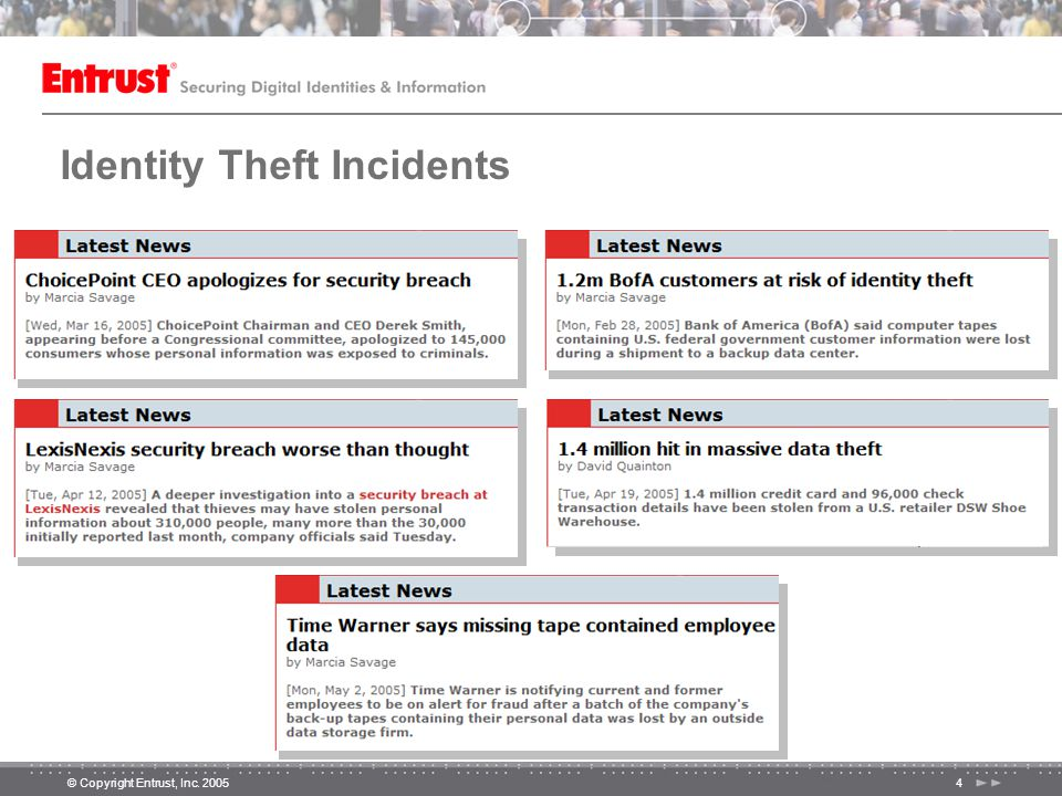 © Copyright Entrust, Inc. 20055 2005 Major Identity Theft Incidents