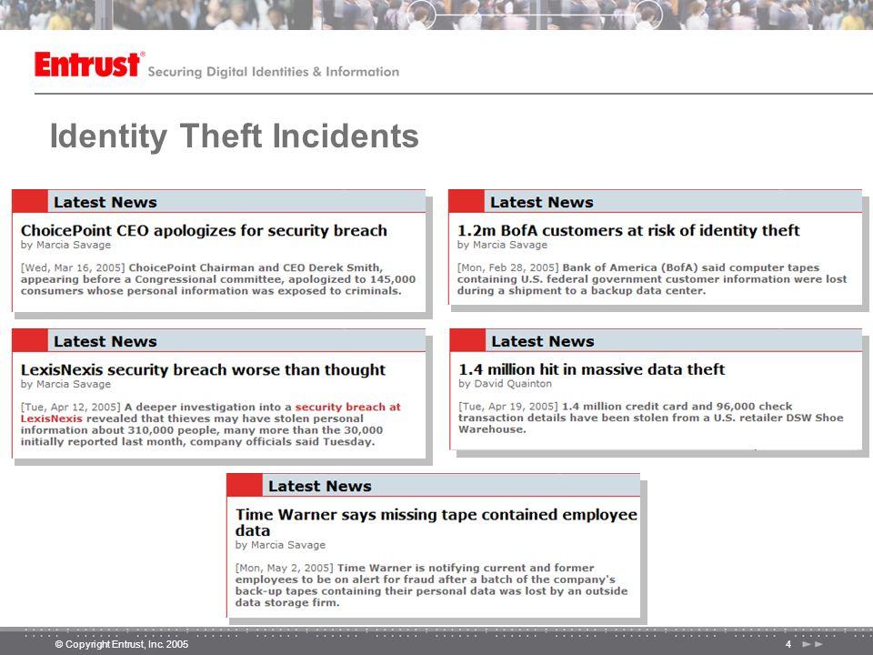 © Copyright Entrust, Inc. 20054 Identity Theft Incidents