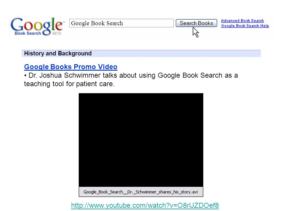 Google Book Search History and Background Google Book Search Overview Tool for searching full text of scanned books in digital database Limited view of pages that contain searched keyword and relevant info Free PDF downloads of public-domain works and non-copyright material Over one million volumes in database Publishers can promote books for free by making them searchable online Content is protected; only limited preview allowed Publishers can use AdWords to run targeted ad campaigns Links to retailers allows users to buy books