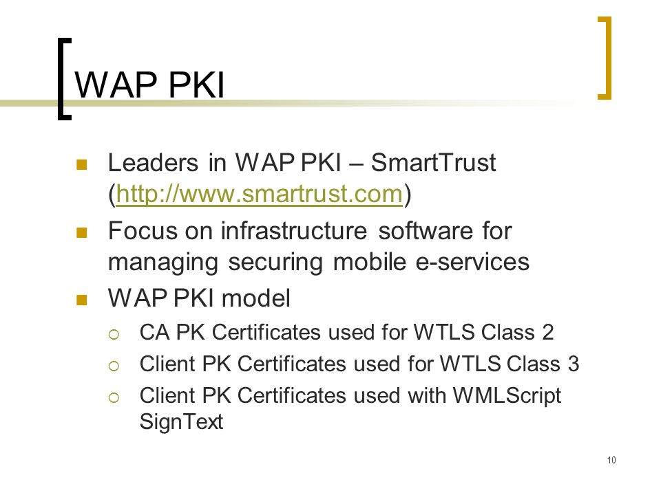 10 WAP PKI Leaders in WAP PKI – SmartTrust (http://www.smartrust.com)http://www.smartrust.com Focus on infrastructure software for managing securing m