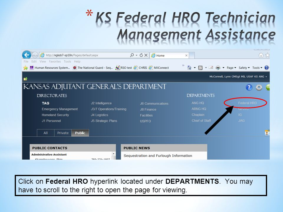 Click on Federal HRO hyperlink located under DEPARTMENTS.