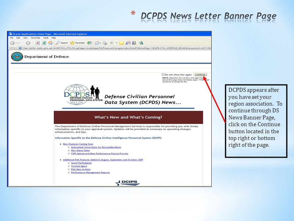 DCPDS appears after you have set your region association.