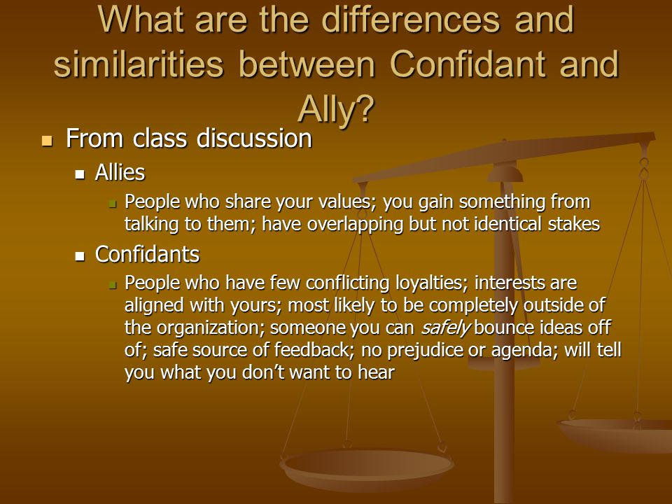 What are the differences and similarities between Confidant and Ally.