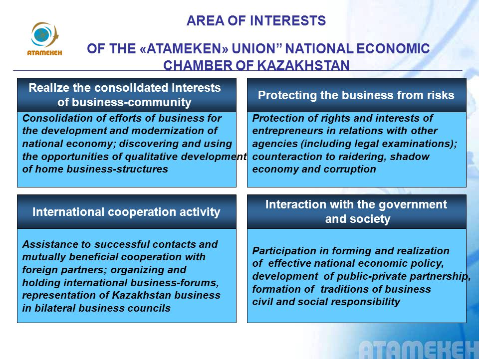 «АTAMEKEN» UNION» NATIONAL ECONOMIC CHAMBER OF KAZAKHSTAN TODAY: The Judicial service of the Chamber is conducting a big job on legal support and protection of legal rights and interests of entrepreneurs in expertise activities and social initiatives; and also in specific cases including court hearings.