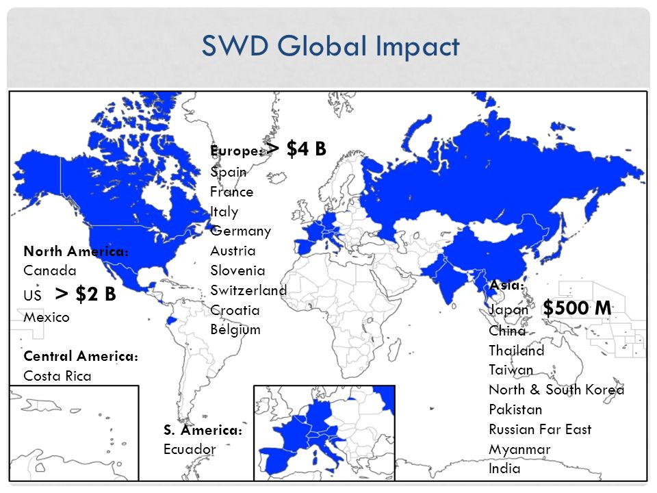 SWD Global Impact North America: Canada US > $2 B Mexico Central America: Costa Rica Asia: Japan $500 M China Thailand Taiwan North & South Korea Pakistan Russian Far East Myanmar India Europe: > $4 B Spain France Italy Germany Austria Slovenia Switzerland Croatia Belgium S.