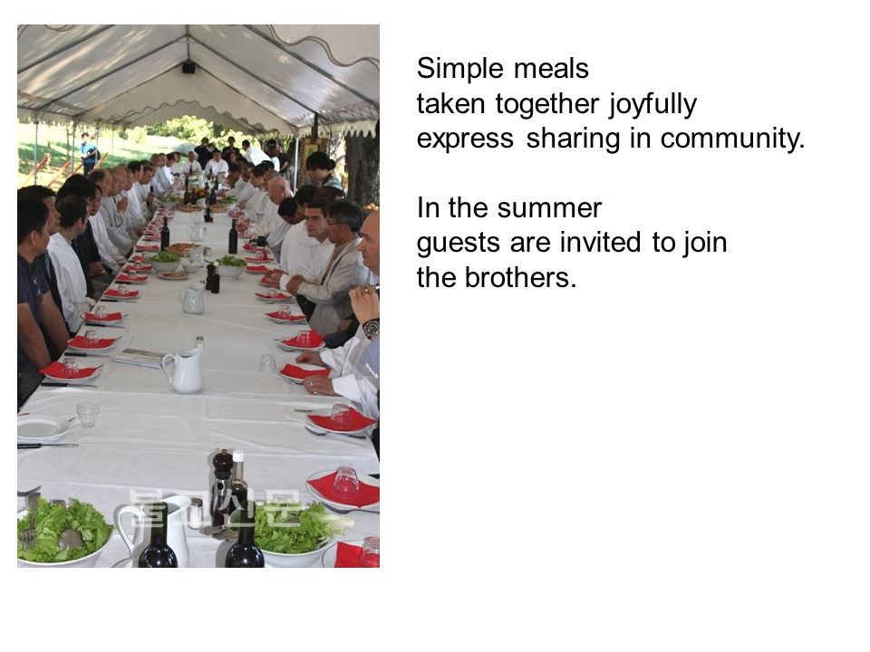 Simple meals taken together joyfully express sharing in community.